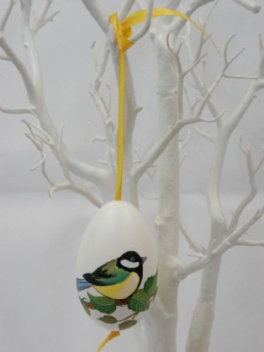 Wooden Great Tit Bird Hanging Egg